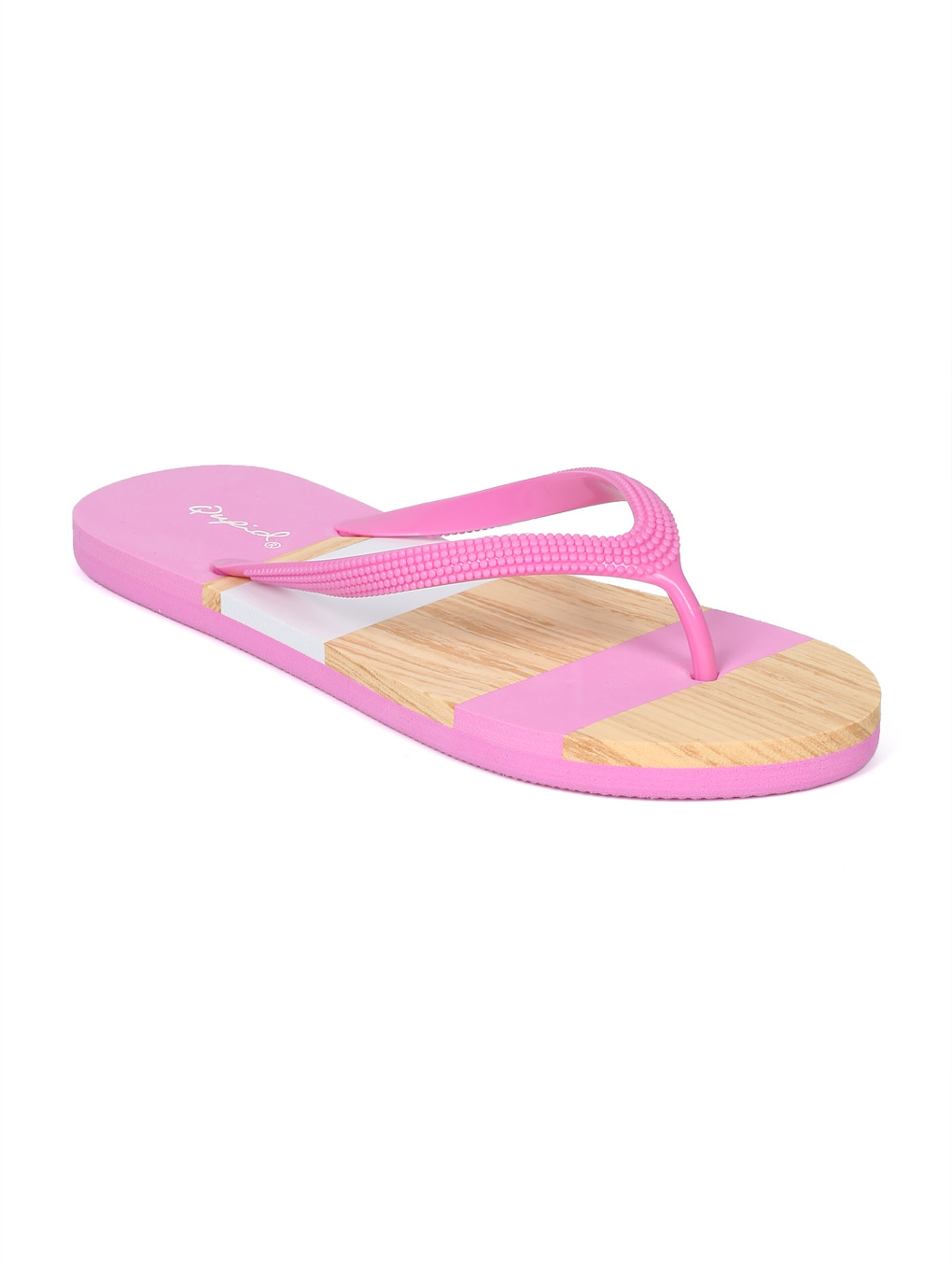 beb24c8a87a0 Alrisqd - Women PFC Faux Wood Striped Thong Sandal HH46 ...