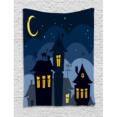 Halloween Tapestry, Old Town with Cat on the Roof Night Sky Moon and Stars Houses Cartoon Art, Wall Hanging for Bedroom Living Room Dorm Decor, 40W X 60L Inches, Black Yellow Blue, by Ambesonne
