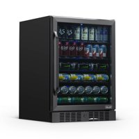 "NewAir 24"" Built-in 177 Can Beverage Fridge with Precision Temperature Controls and Adjustable Shelves - Black Stainless Steel"