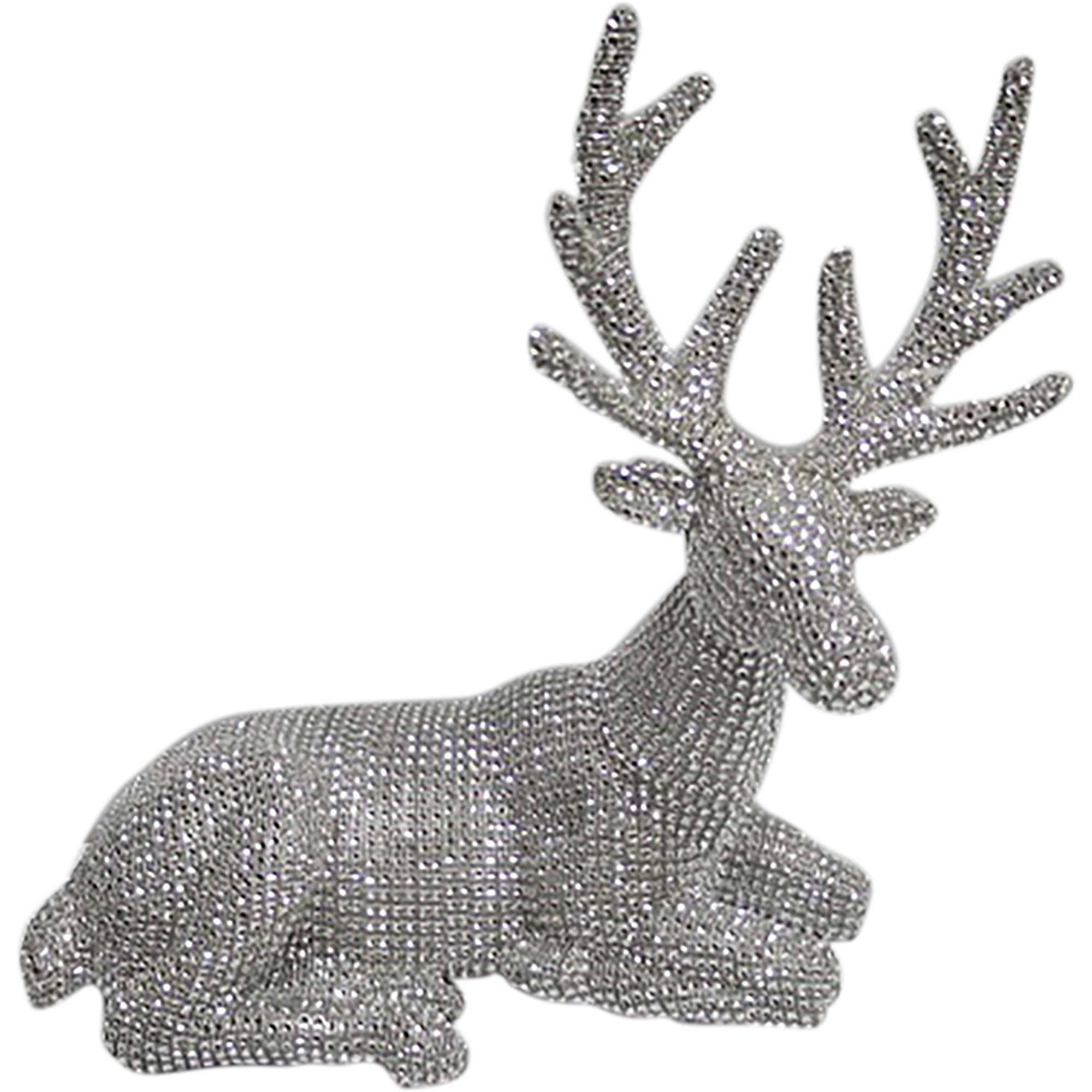 holiday time christmas decor pave sliver sit deer decor walmartcom - Christmas Deer Decor