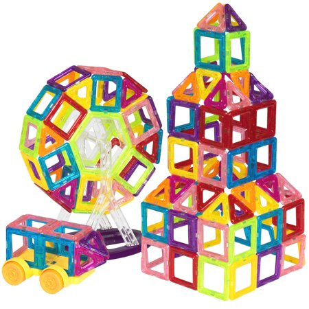 Magnetic Pattern Blocks Zoo - Best Choice Products 158-Piece Kids Lightweight Portable Mini Transparent Magnetic Building Block Tiles Toy Set for STEM, Education, Learning - Multicolor
