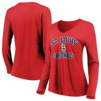 Women's Majestic Red St. Louis Cardinals Heart & Soul Long Sleeve V-Neck T-Shirt
