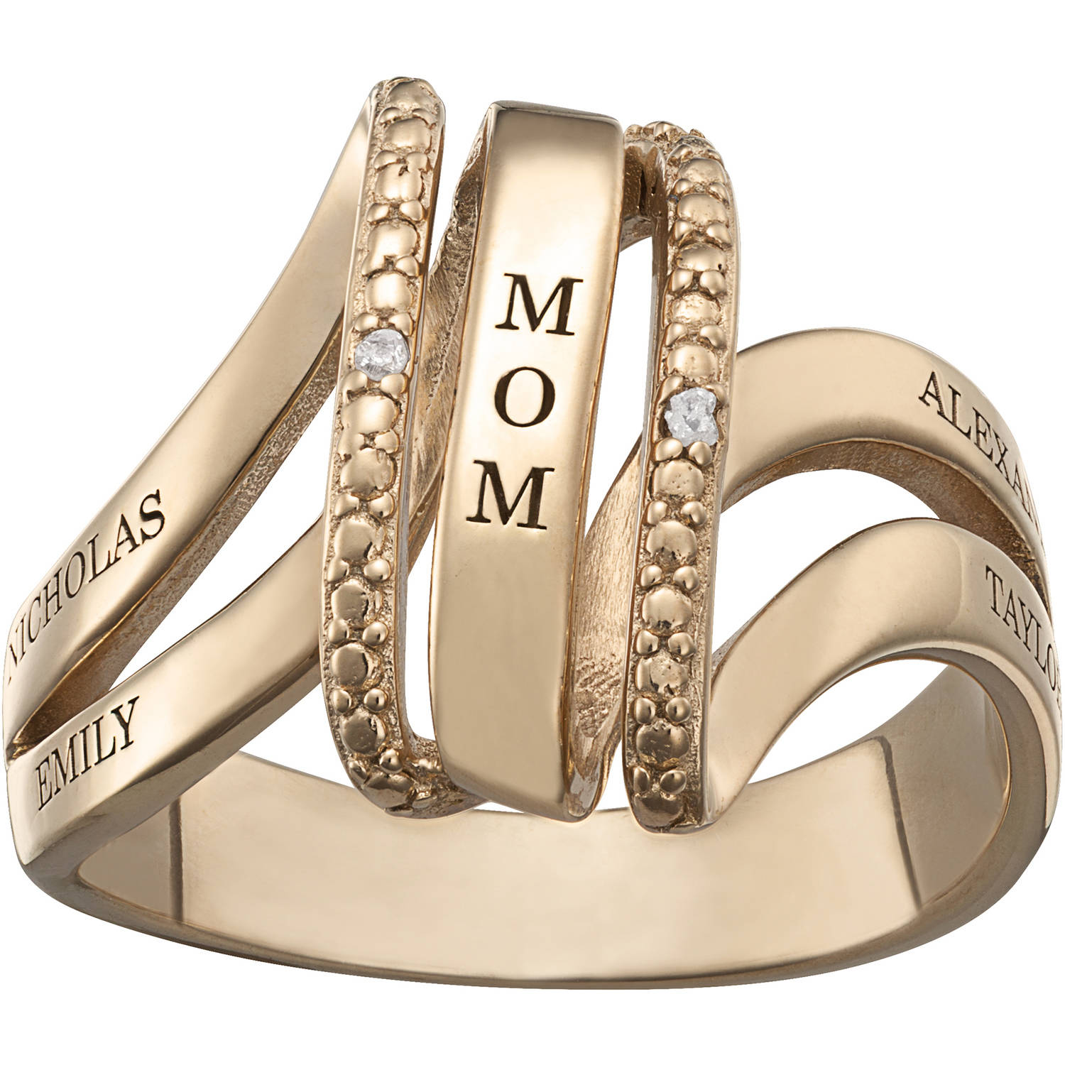 Family Jewelry Personalized Mother's Gold over Silver Engraved Swirl Diamond Accent Ring