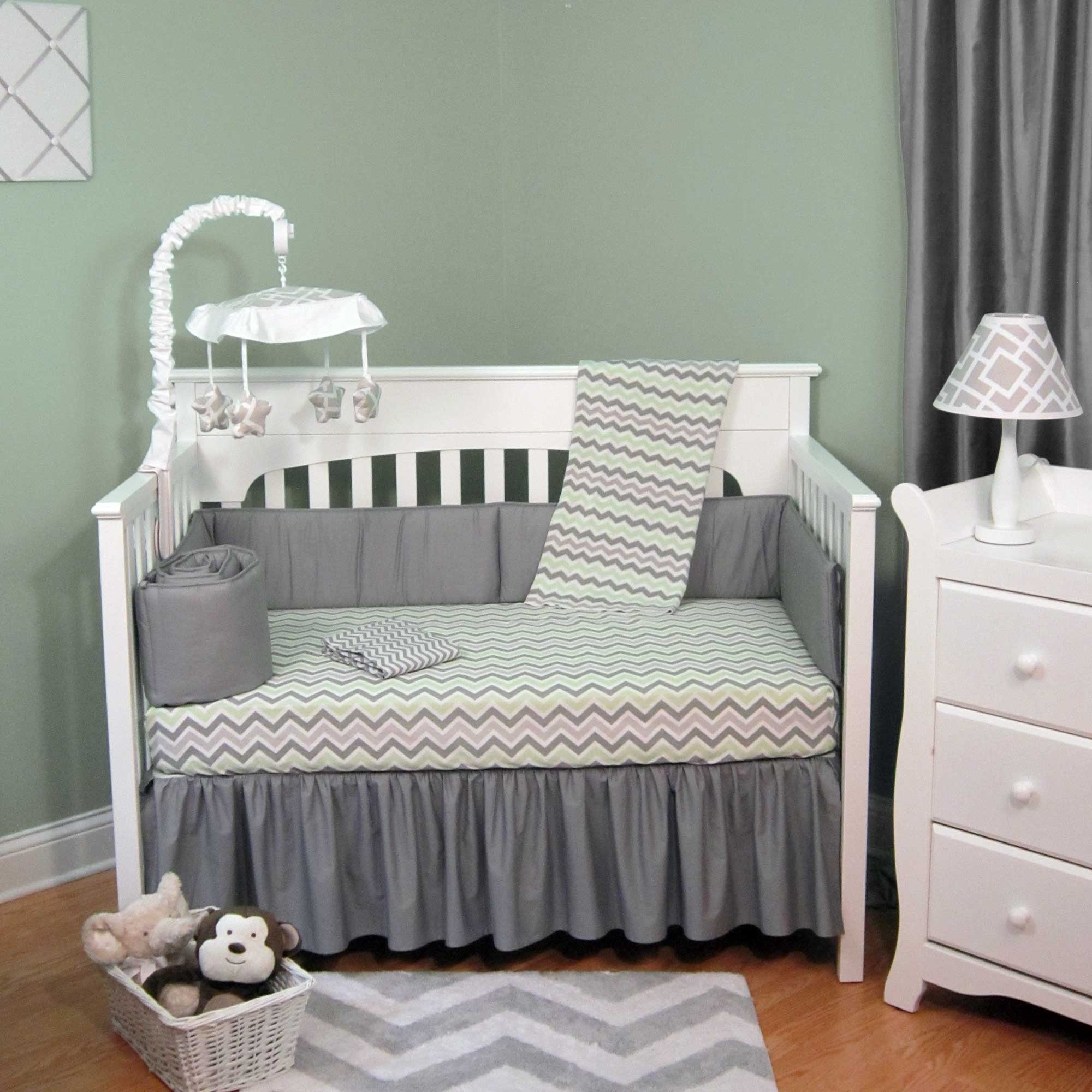 Chevron Zig Zag Pink and Gray with Dots 5 Piece Baby Crib Bedding Set with Bumper