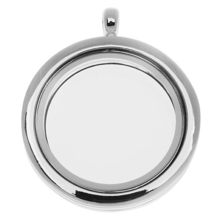 Floating Locket Pendant, Round with Glass Window 30mm, 1 Piece, Silver Plated