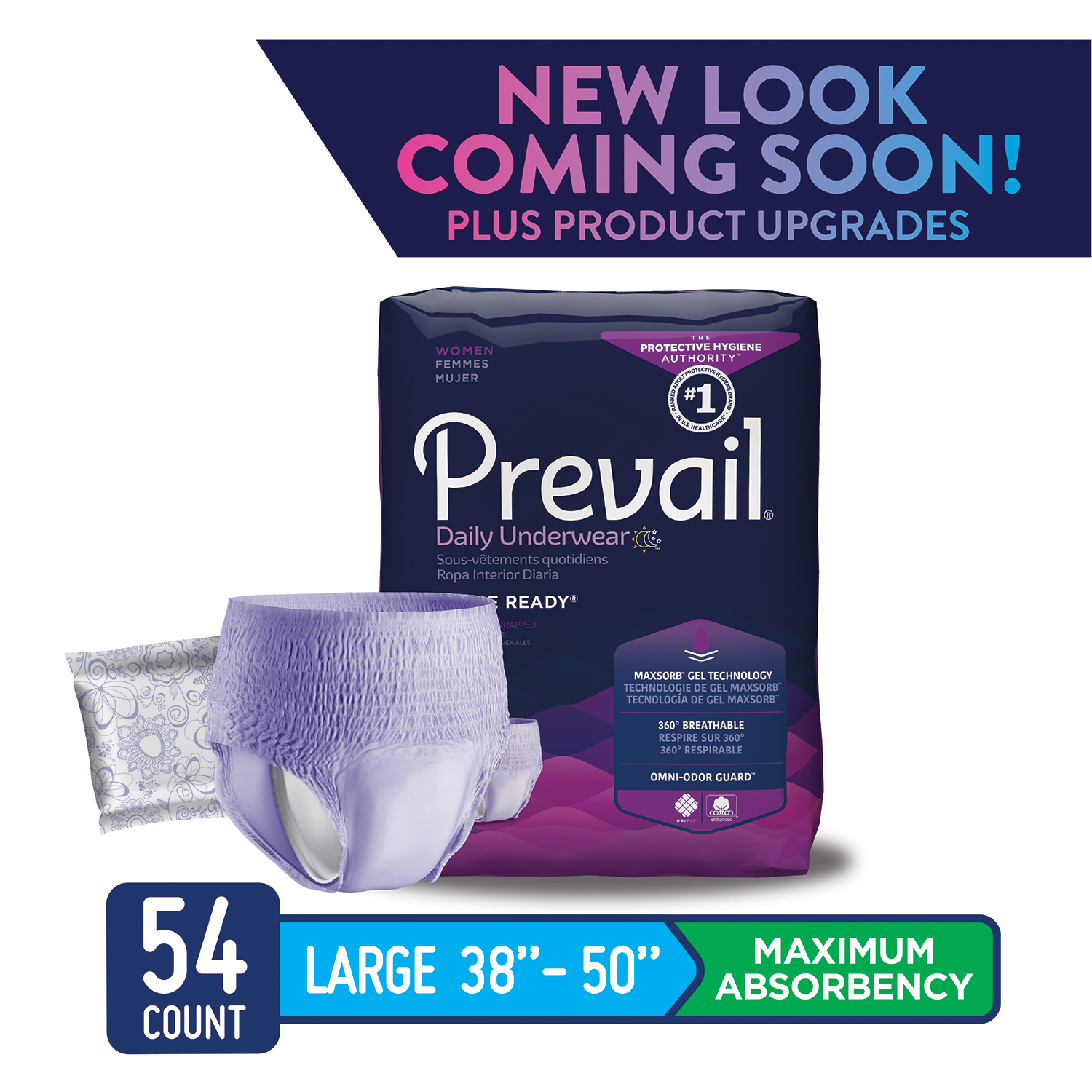 Prevail Maximum Absorbency Incontinence Underwear for Women, Large, 54 Count