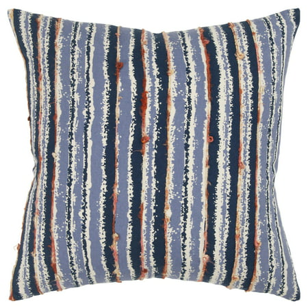 """Rizzy Home Decorative Poly Filled Throw Pillow Stripe 20""""X20"""" Blue"""