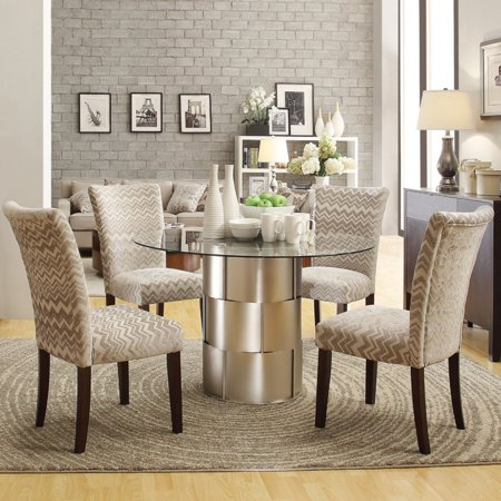 Homelegance Dining Table Set - Homelegance Glass Top Barrel 5 Piece Dining Table Set with Chevron Chairs