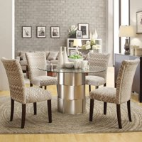 Weston Home Glass Top Barrel 5 Piece Dining Table Set with Chevron Chairs