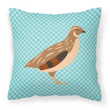 Golden Phoenix Quail Blue Check Fabric Decorative Pillow ()
