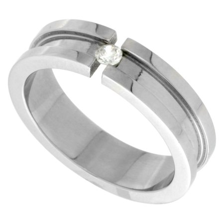 Surgical Steel Tension Set CZ Ring Grooved Center 6mm Wedding Band, sizes 7.5 - - Star Tension Set Ring