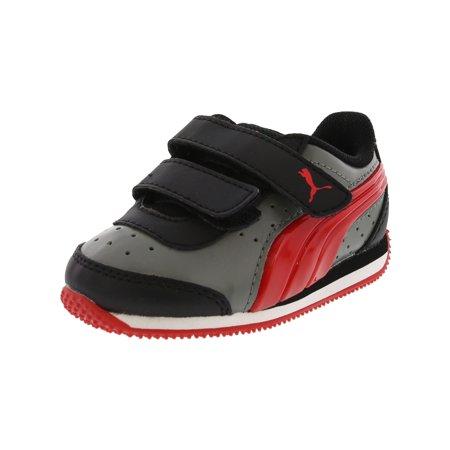 Puma Speed Light Up Power Castor Grey/Flame Scarlet Ankle-High Slip-On Shoes - 4M / 2M (Scarlet Kids Shoes)