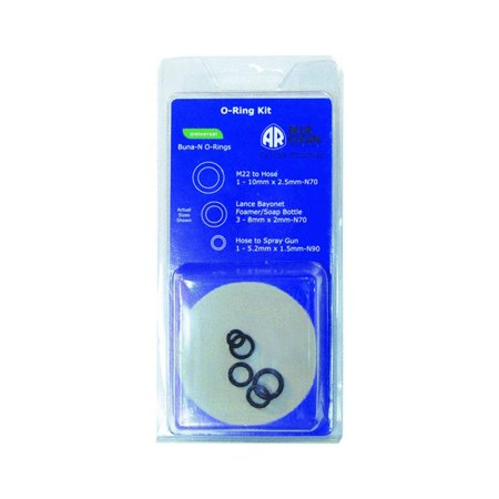 AR909104K O-Ring Kit, This o-ring kit contains 5 high quality rubber o-rings for high pressure hose, lances, and soap bottle By AR Blue Clean