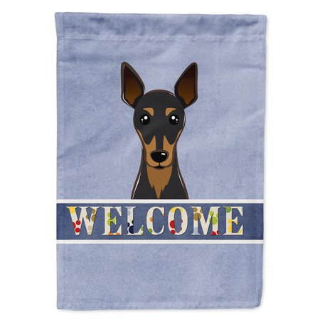 Image of Min Pin Welcome Flag Canvas House Size