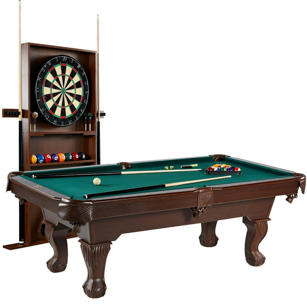 "Barrington 90"" Ball and Claw Leg Pool Table, Cue Rack, Dartboard, Green"