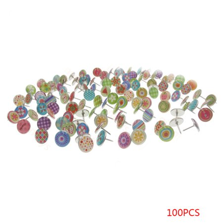 100PCS Soft Flat Steel 11mm Thumb Tacks Push Pins for Photos Wall/Maps/Bulletin Board/Corkboards ()