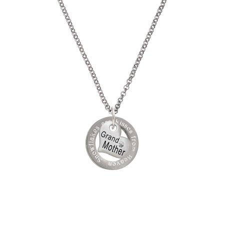 Silvertone Small ''Grandmother'' Heart with Clear Crystal Snowflakes are Kisses Affirmation Ring Necklace - Snowflake Necklace Tiffany