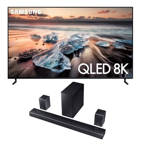 "Samsung QN82Q900RB (7680 x 4320) 82"" Ultra High Definition Smart 8K TV with a Samsung HW-Q90R 7.1.4 Channel Harmon Kardon Soundbar with Dolby Atmos (2019)"