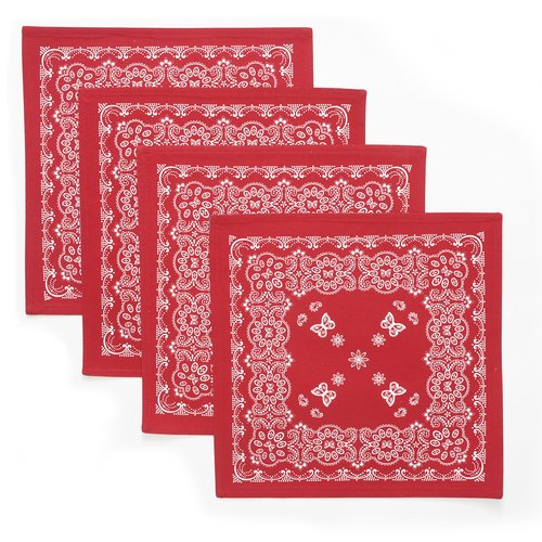 The Pioneer Woman Bandana Reversible Placemat, 4pk, Red