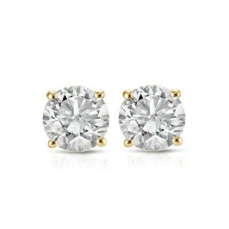 1ct Round Diamond Stud Earrings in 14K Yellow Gold with Screw Backs 14k Yellow Gold Stud Earrings