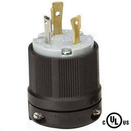30a 125v Straight Adapter - NEMA L5-30 Grounding Locking Plug, 30A 125V AC, 2 Pole 3 Wire, cUL Listed