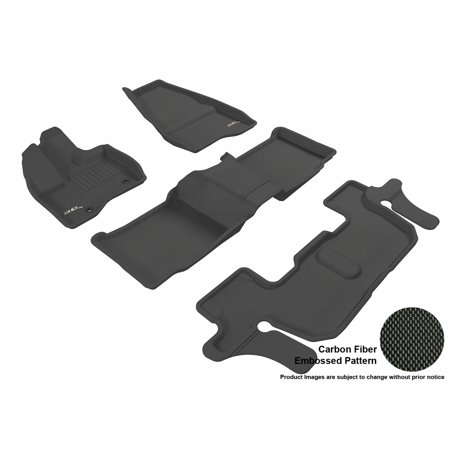 3D MAXpider 2011-2014 Ford Explorer Front, Second, & Third Row Set All Weather Floor Liners in Black with Carbon Fiber Look - Ford Explorer Suv Carpet