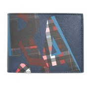 Ferragamo Fusion Abstract Print Leather Bi-Fold Wallet - Navy
