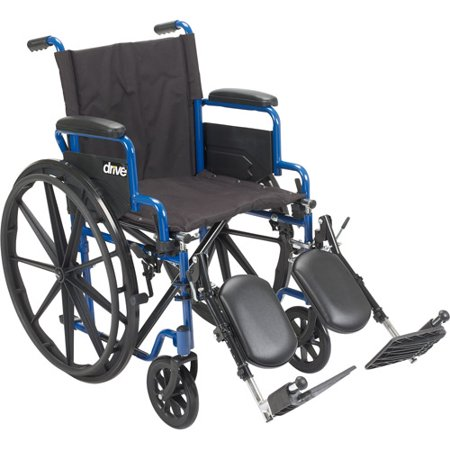 Drive Medical Blue Streak Wheelchair With Flip Back Desk Arms  Elevating Leg Rests  18  Seat