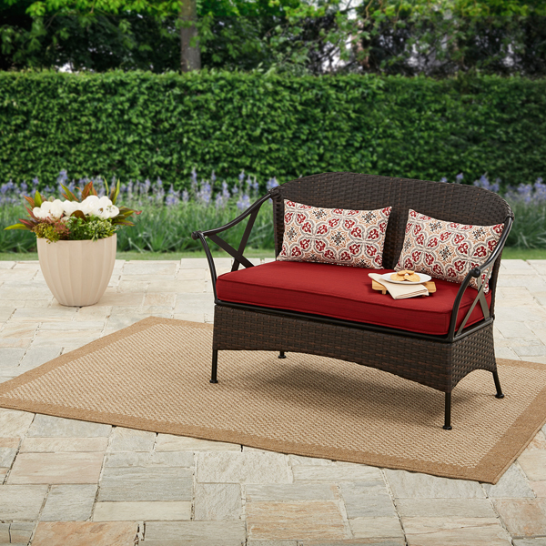 Mainstays Skylar Glen Outdoor Bench with Cushion, Blue, Seats 2 by PASCO ENTERPRISES LIMITED