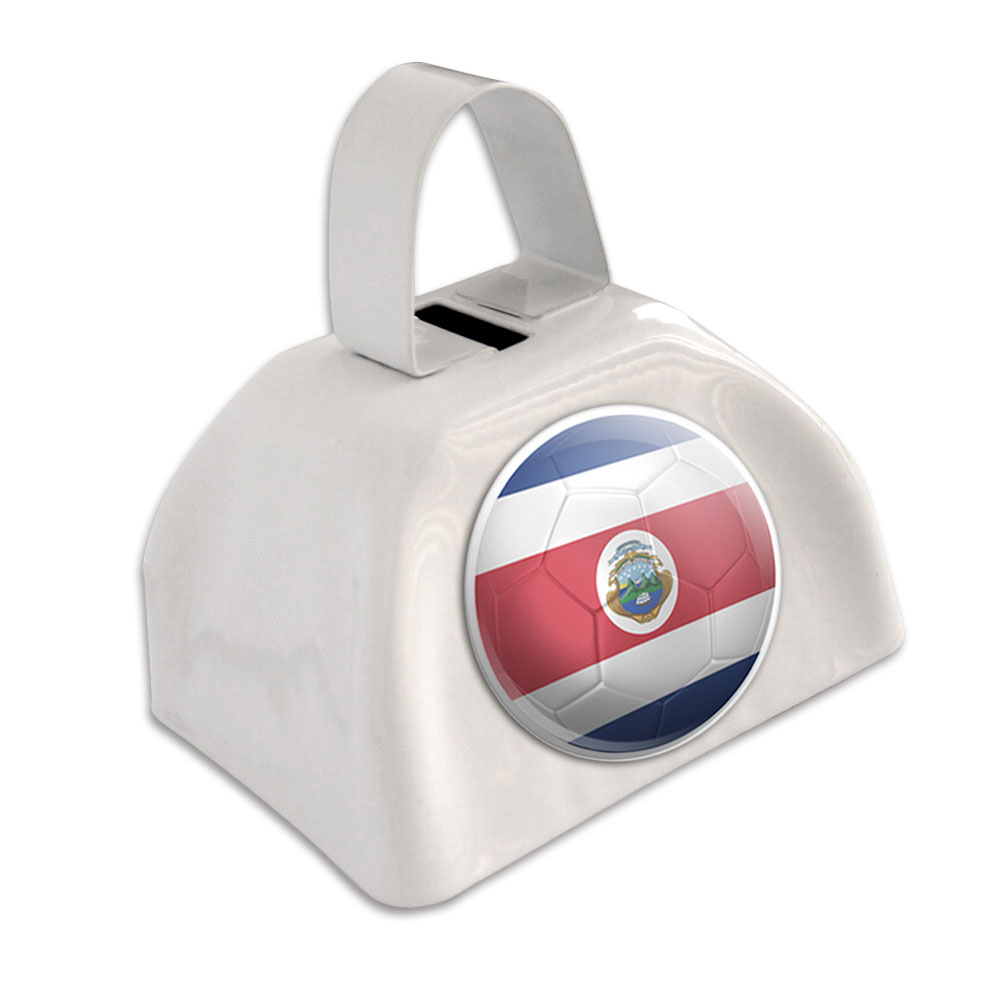Costa Rica Flag Soccer Ball Futbol Football White Cowbell Cow Bell by Graphics and More