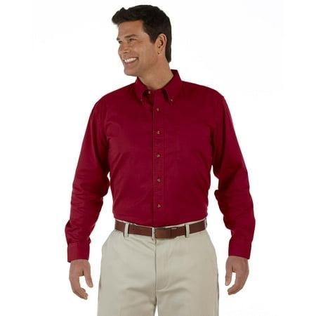 Small Dress Shirts (Devon & Jones D500 Dress Shirt Men's Long Sleeve Titan Twill Crimson)
