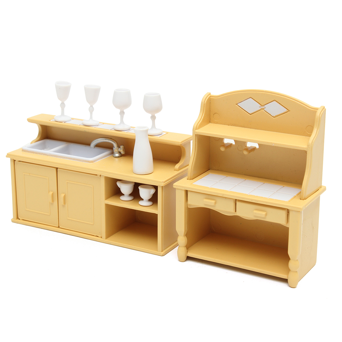 Room Furniture Kit Kitchen Cabinets Set for Sylvanian Families Calico Critters Dolls