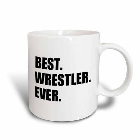 3dRose Best Wrestler Ever, fun wrestling sport gift, black and white text, Ceramic Mug,