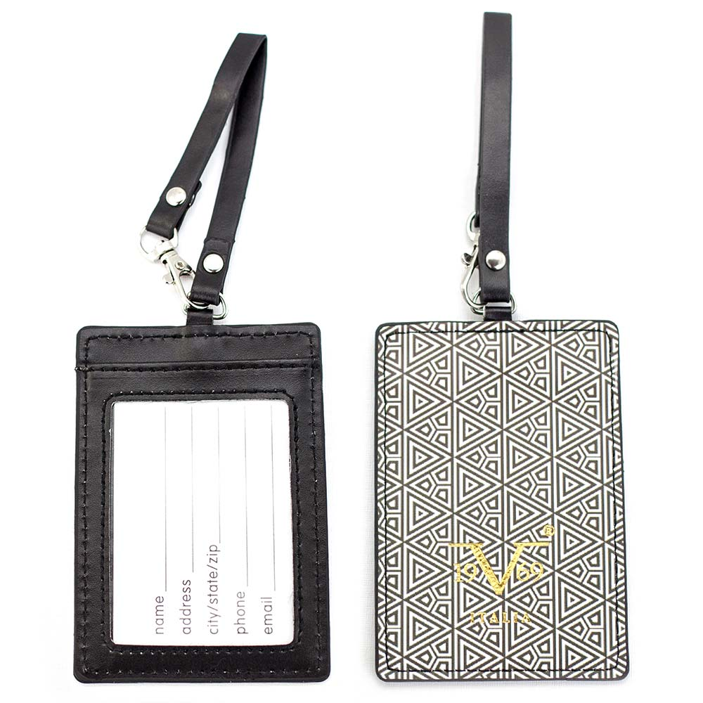 V19.69 Italia by Alessandro Versace Luggage Tags / Card Holder - Set of 2 (Geometric Triangles)
