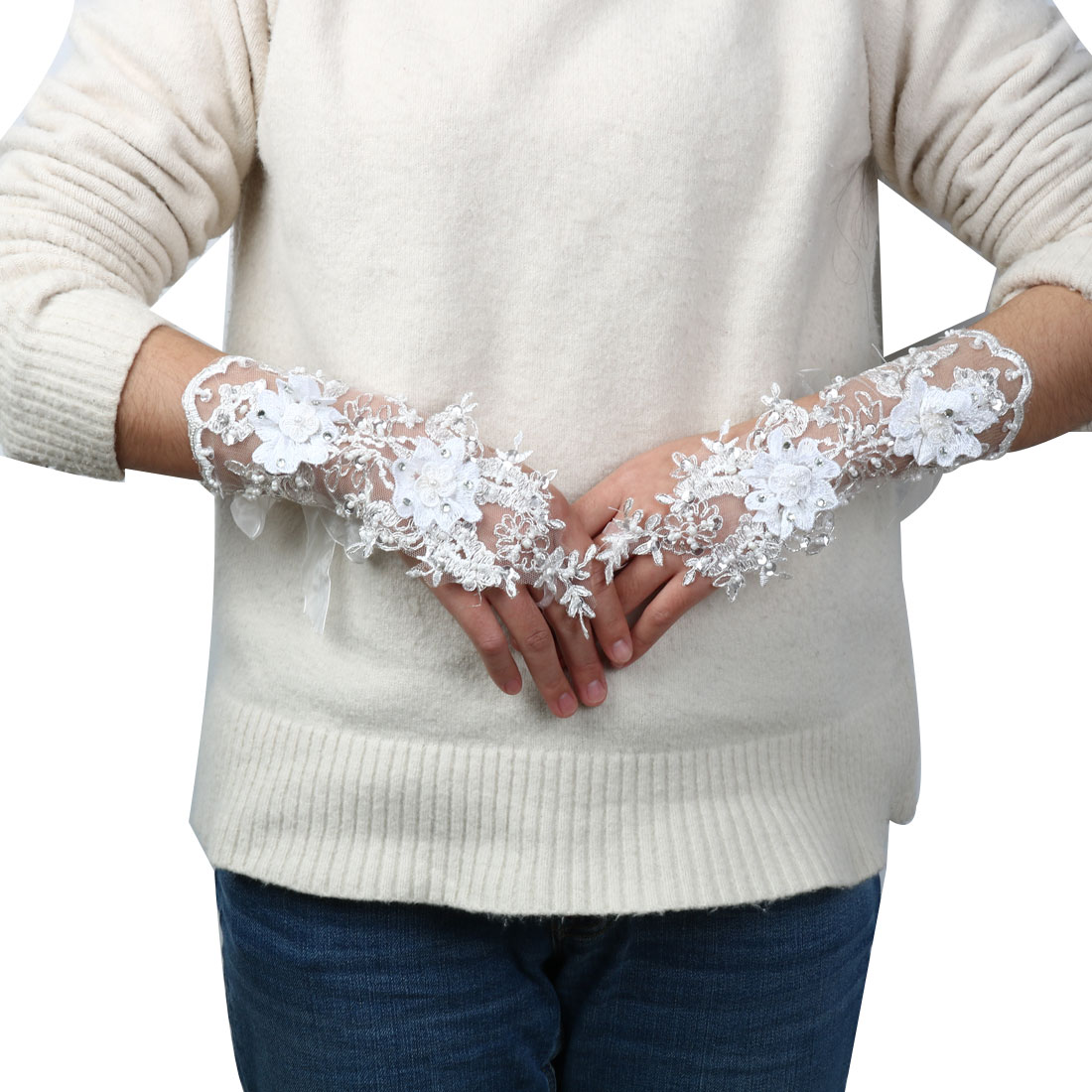 Wedding Faux Diamond Decor Flower Style Bridesmaid Lace Fingerless Glove Pair