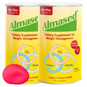 Almased Meal Replacement Shakes -Soy Protein Powder for Weight Loss - Shake for Weight Loss and Meal Replacement - Gluten Free, No Sugar Added (2 pack + Free Stress Ball)