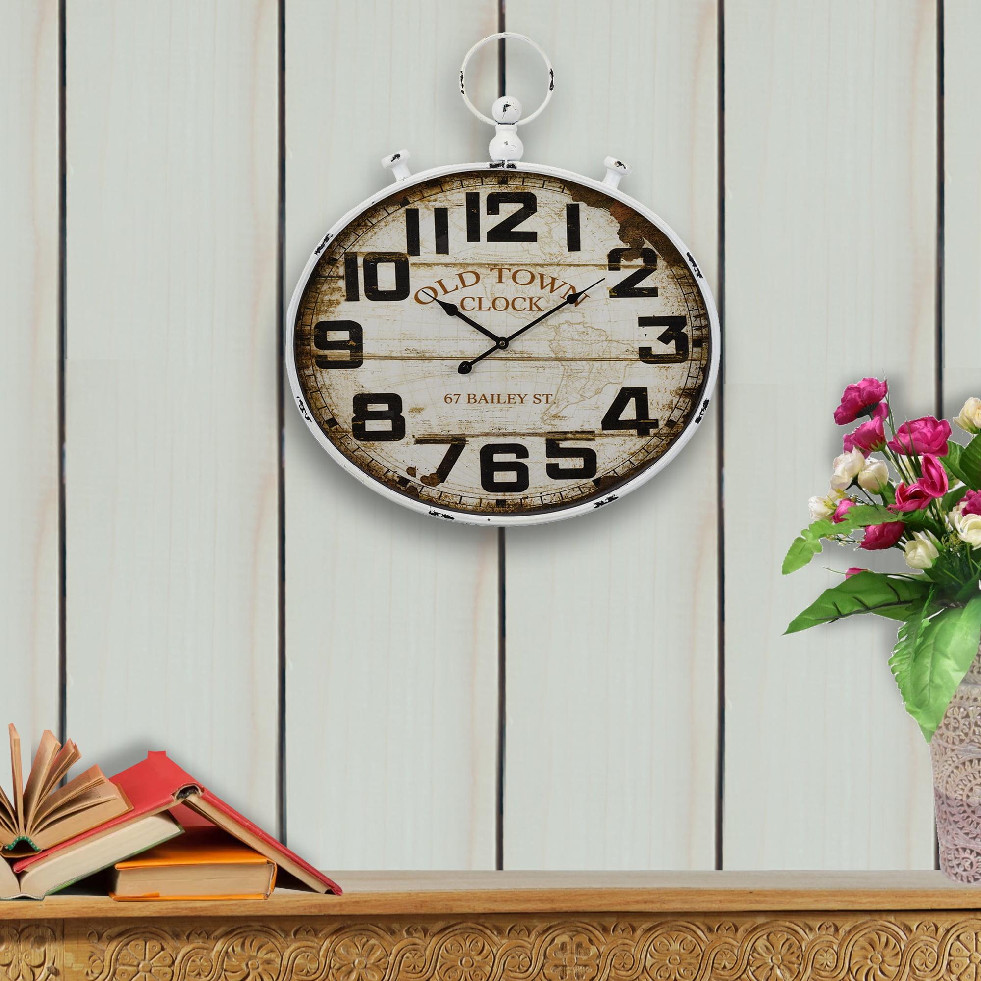 Benzara BM184772 Round Shape Wall Clock with Mirrored Finish White