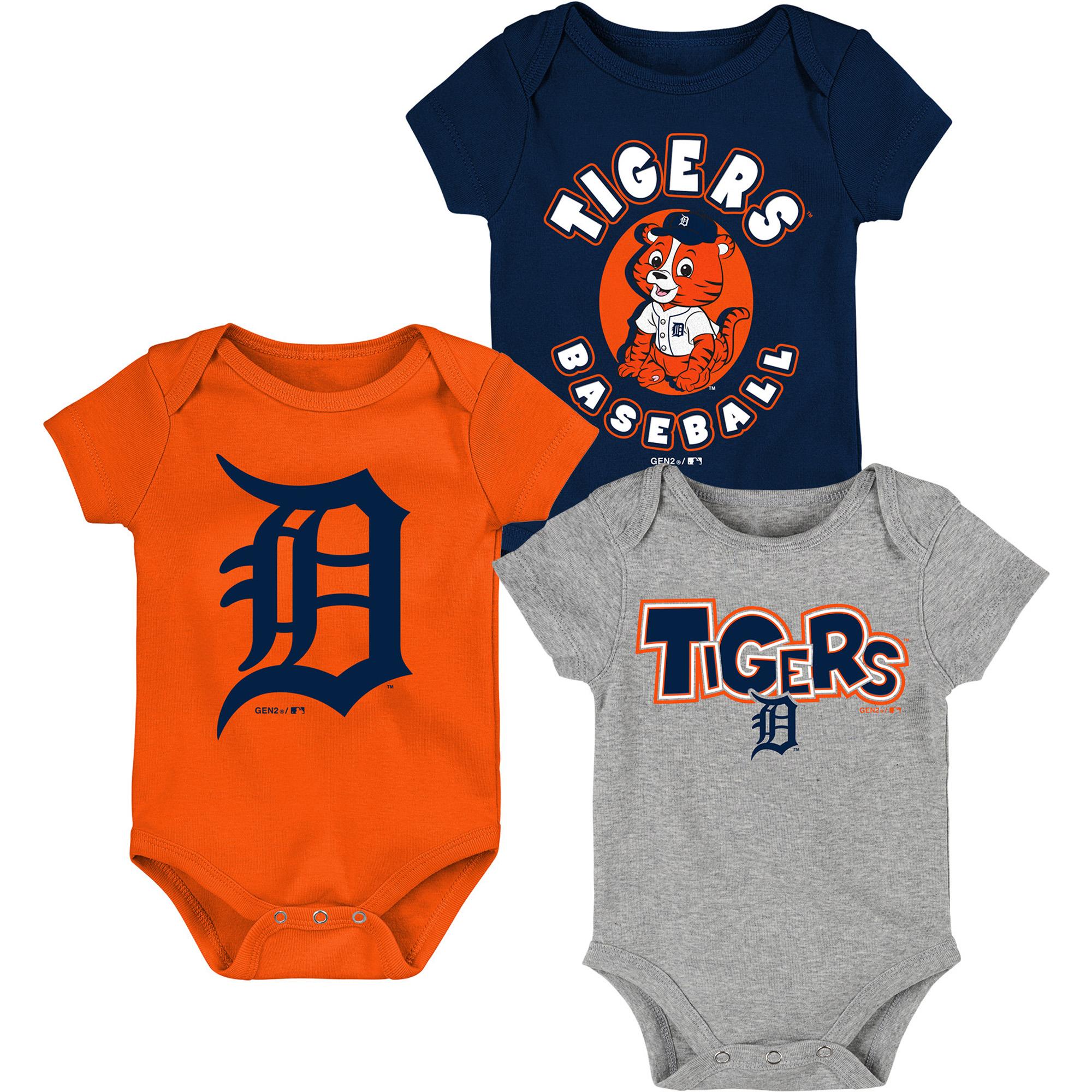 Detroit Tigers Infant Everyday Fan Three-Pack Bodysuit Set - Navy/Orange/Heathered Gray