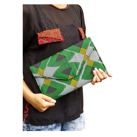 Green, Black African Print Clutch Purse ()