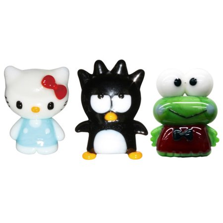 Hello Kitty Glass World Miniature Glass Figurines, 3-Pack, Hello Kitty 2/Badtz-Maru/ Keroppi
