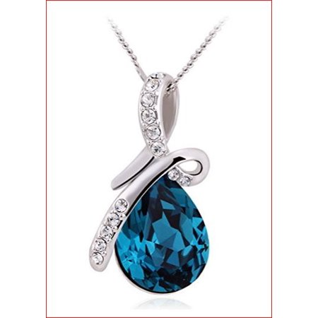 Eternal Love Swarovski  Blue Crystal Elements Teardrop Pendant Necklace Fashion Jewelry for Women