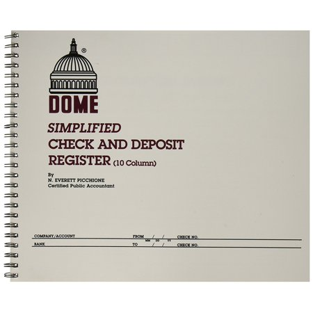 Publishing Co Inc Check/Deposit Register, 50 Pages, 10-1/4 x 8-1/2 Inches, Gray (DOM210), Check and deposit register includes 10 distribution columns to track all.., By Dome Ship from US