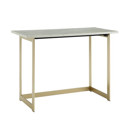 Medical Marble Desk Accessory (42 inch Faux Marble Desk with White Faux Marble Top and Gold Base )