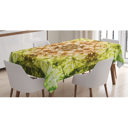 Tie Dye Decor Tablecloth, Round Creepy Figure with Saturated Fractal Colors with Faded Pleat Motifs, Rectangular Table Cover for Dining Room Kitchen, 52 X 70 Inches, Green Brown, by Ambesonne - Tie Dye Tablecloth