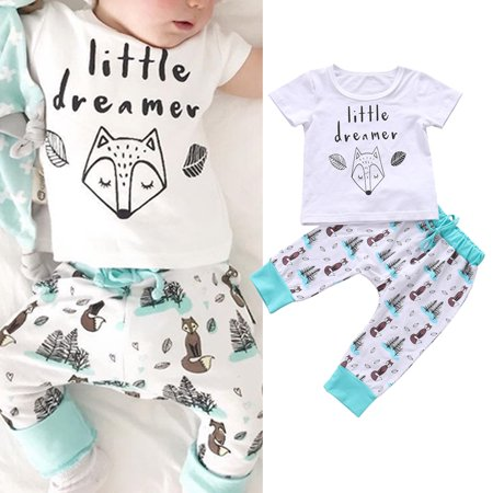2PCS Newborn Infant Baby Girl Boy Summer Clothes Fox Print T-shirt Tops+Long Pants Outfits Set 0-3 Months - Fox Outfit