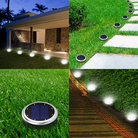 2PCS Elfeland Solar Ground Lights 8 LED Waterproof Outdoor Solar Disk Lights Solar in-Ground Lights Automatically On/Off Lawn Pathway Walkway Garden