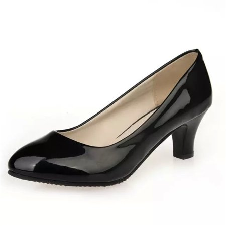 - New Women Fashion Simple Patent Leather Classic Office Lady Round Toe High Heel Shoes Thick Heel Pumps Shoes