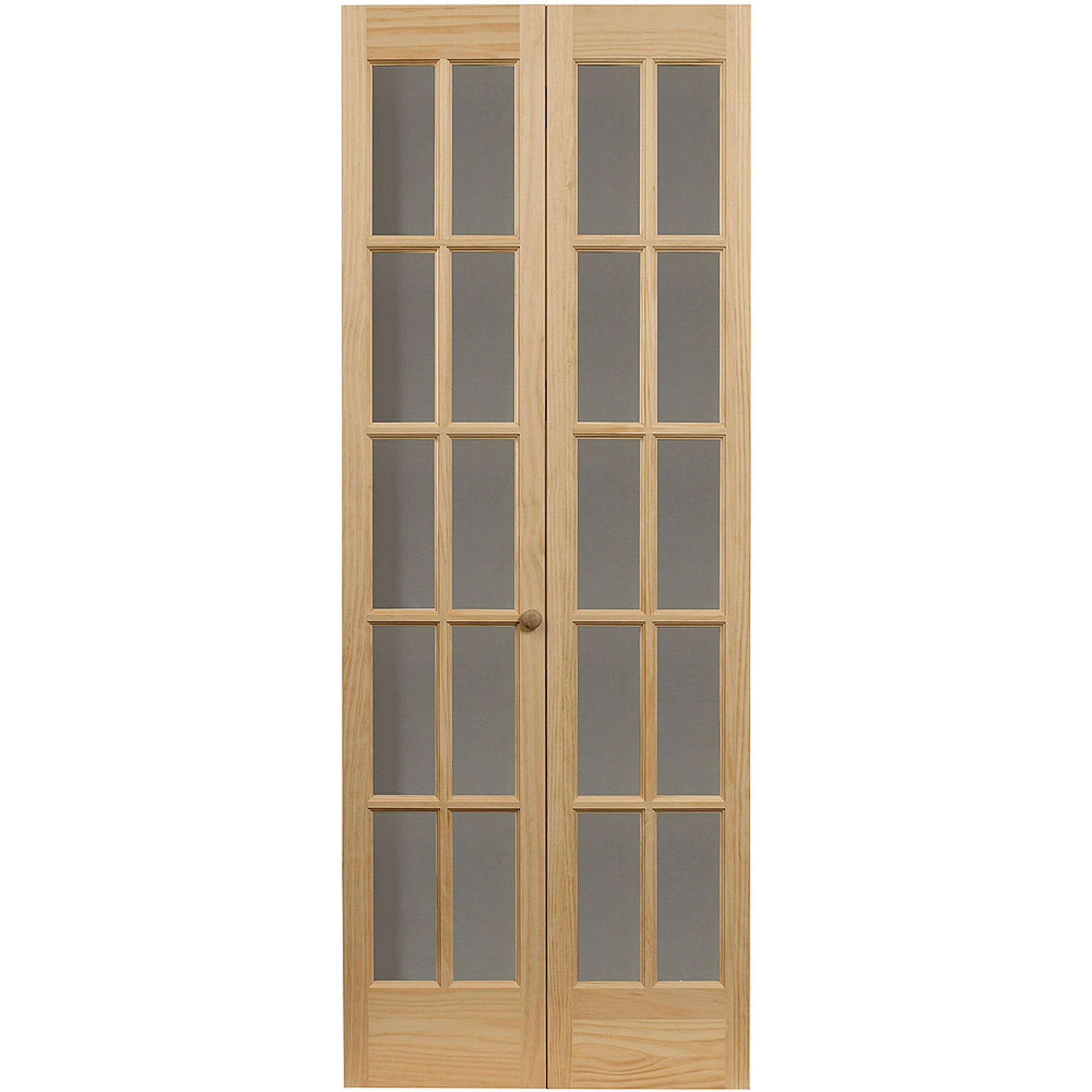 "AWC Traditional Divided Light Glass 30"" x 80.5"" Bifold Door"
