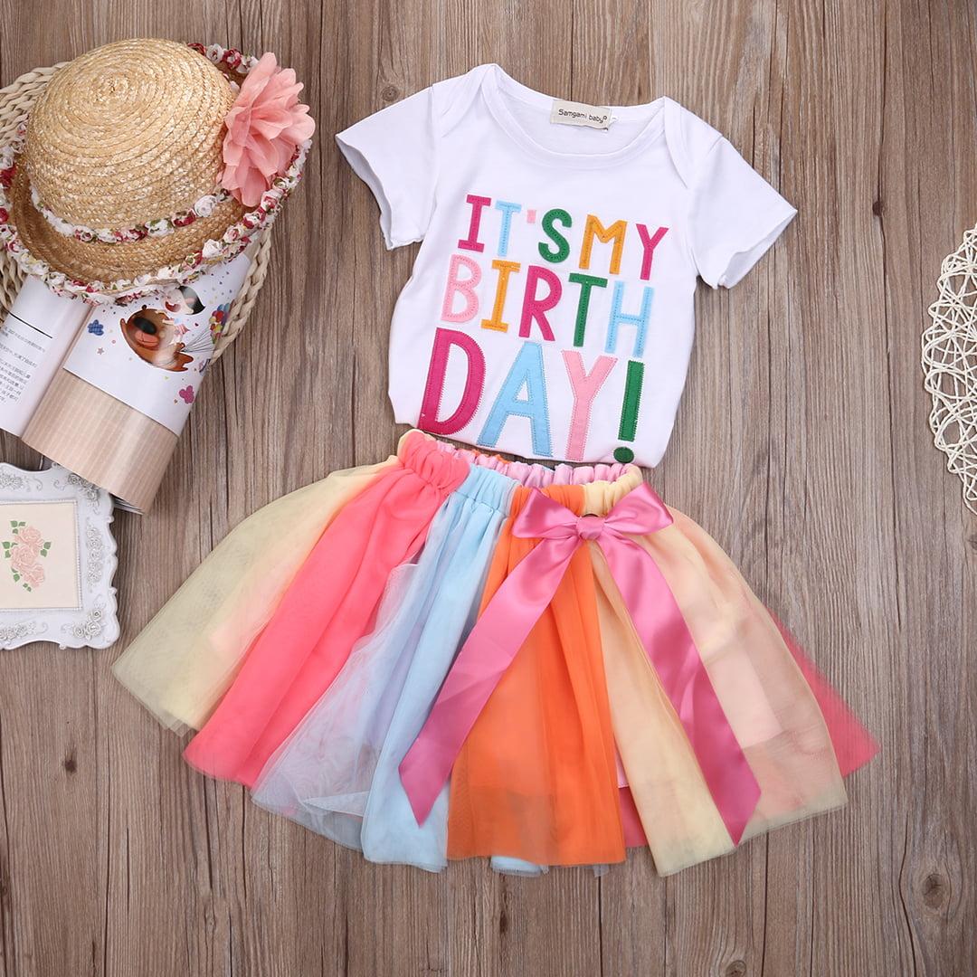 2bd67b9d7e Gaono - Baby Kid Girls Short Sleeve It's My Birthday T-shirt+Rainbow Tutu  Skirt Outfits - Walmart.com