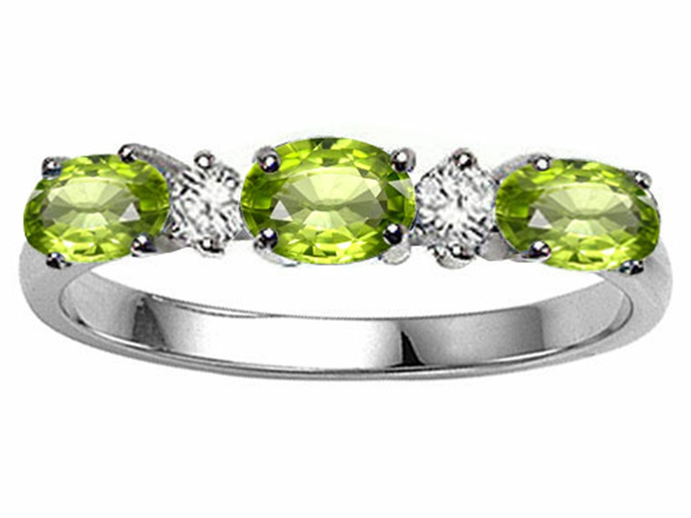 Tommaso Design Oval 5x3mm Genuine Peridot Ring Band by
